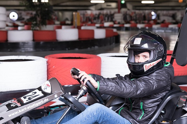 a boy comfortably seated on go-kart